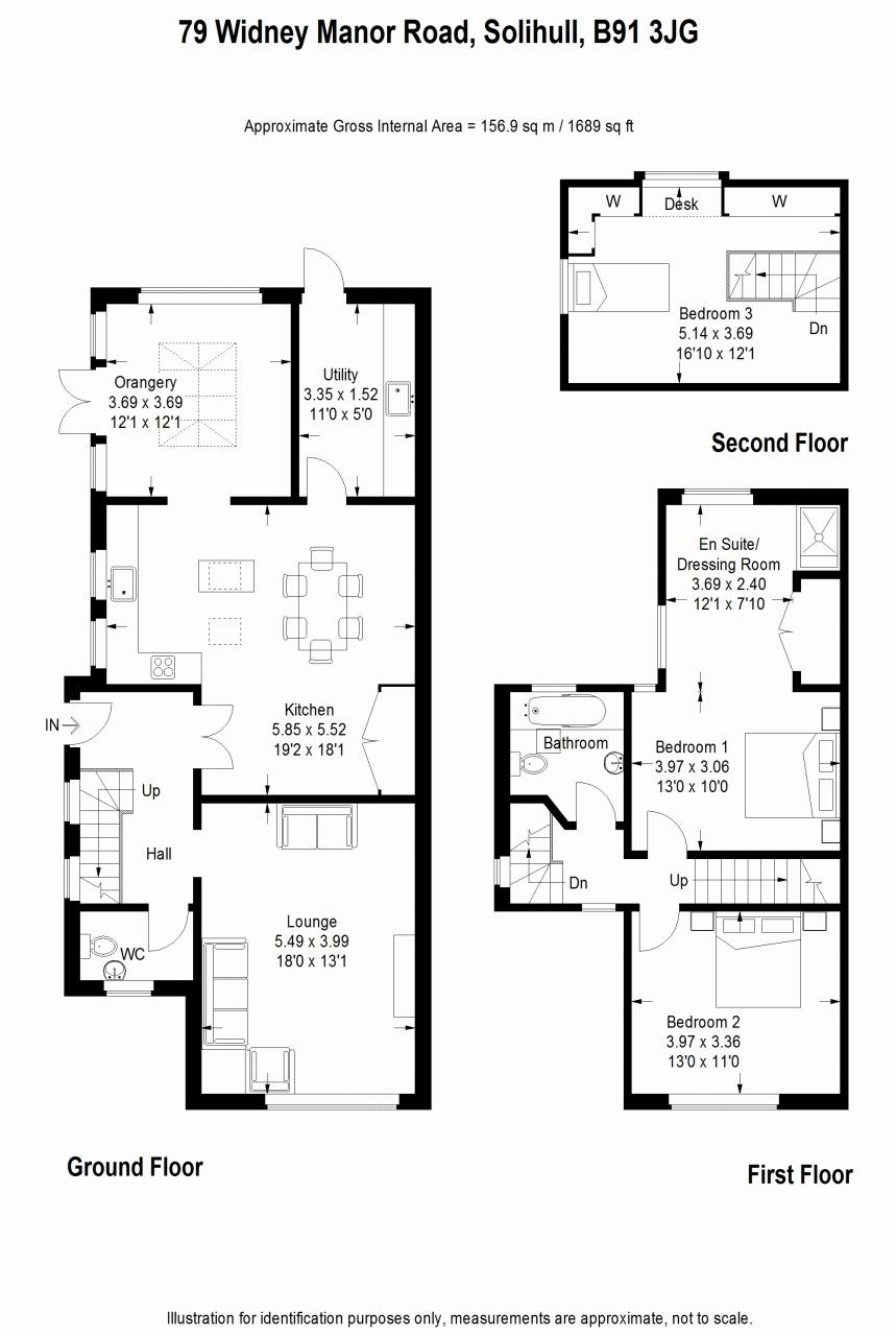 3 bedroom semi detached house SSTC in Solihull - floorplan 1.