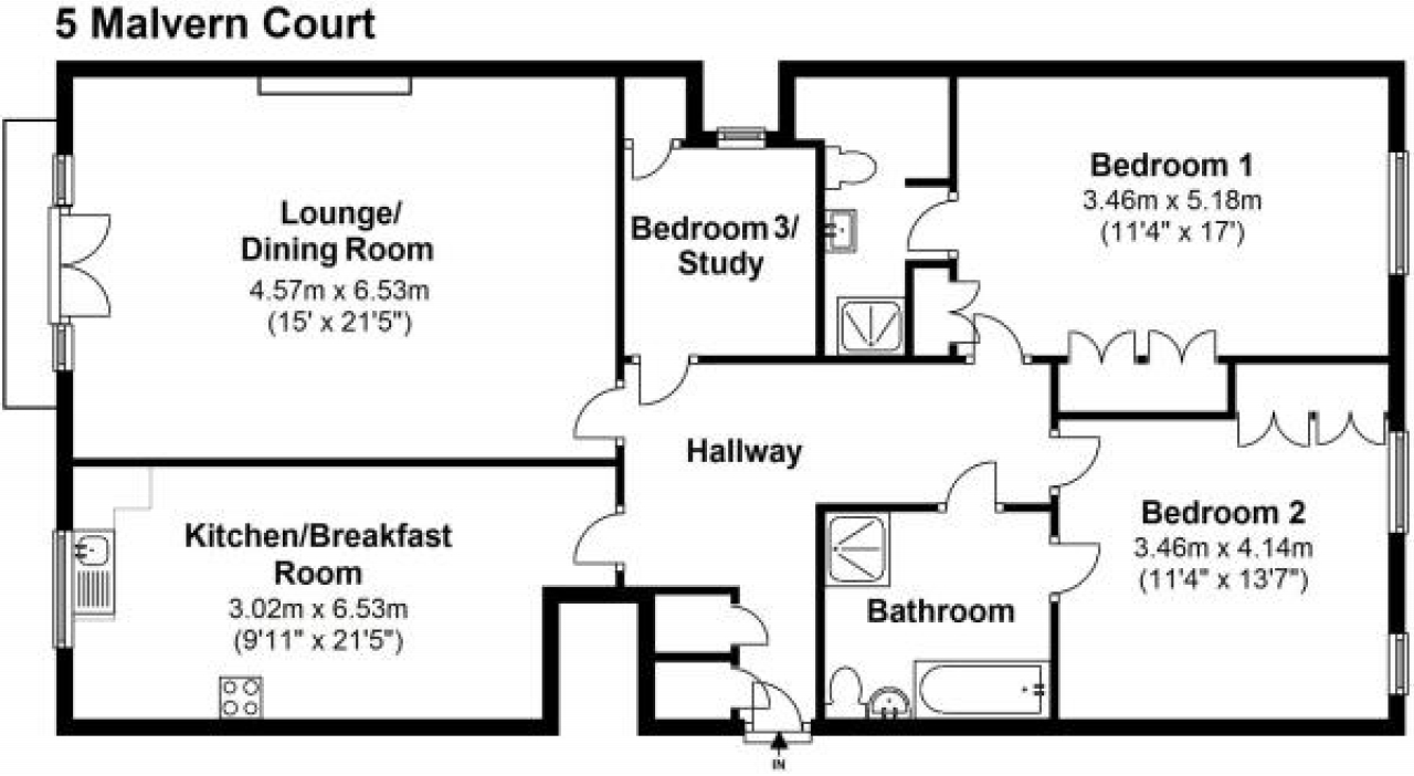 3 bedroom second floor apartment Application Made in Solihull - floorplan 1.