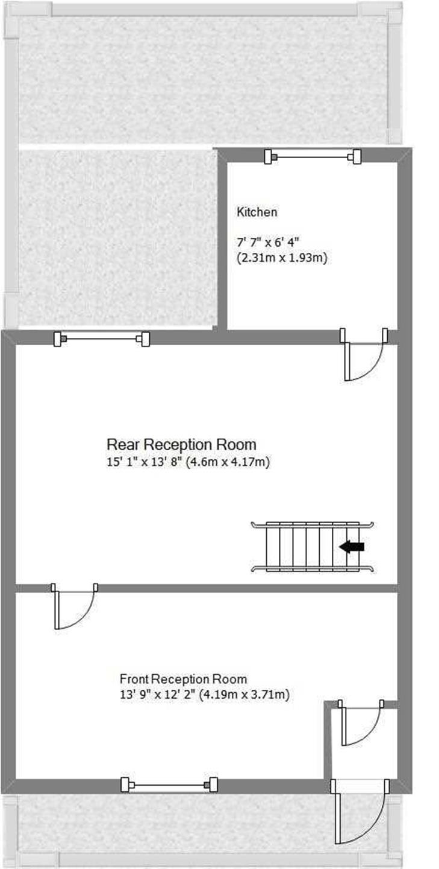 2 Bedroom Terraced House For Sale - Ground Floor Plan