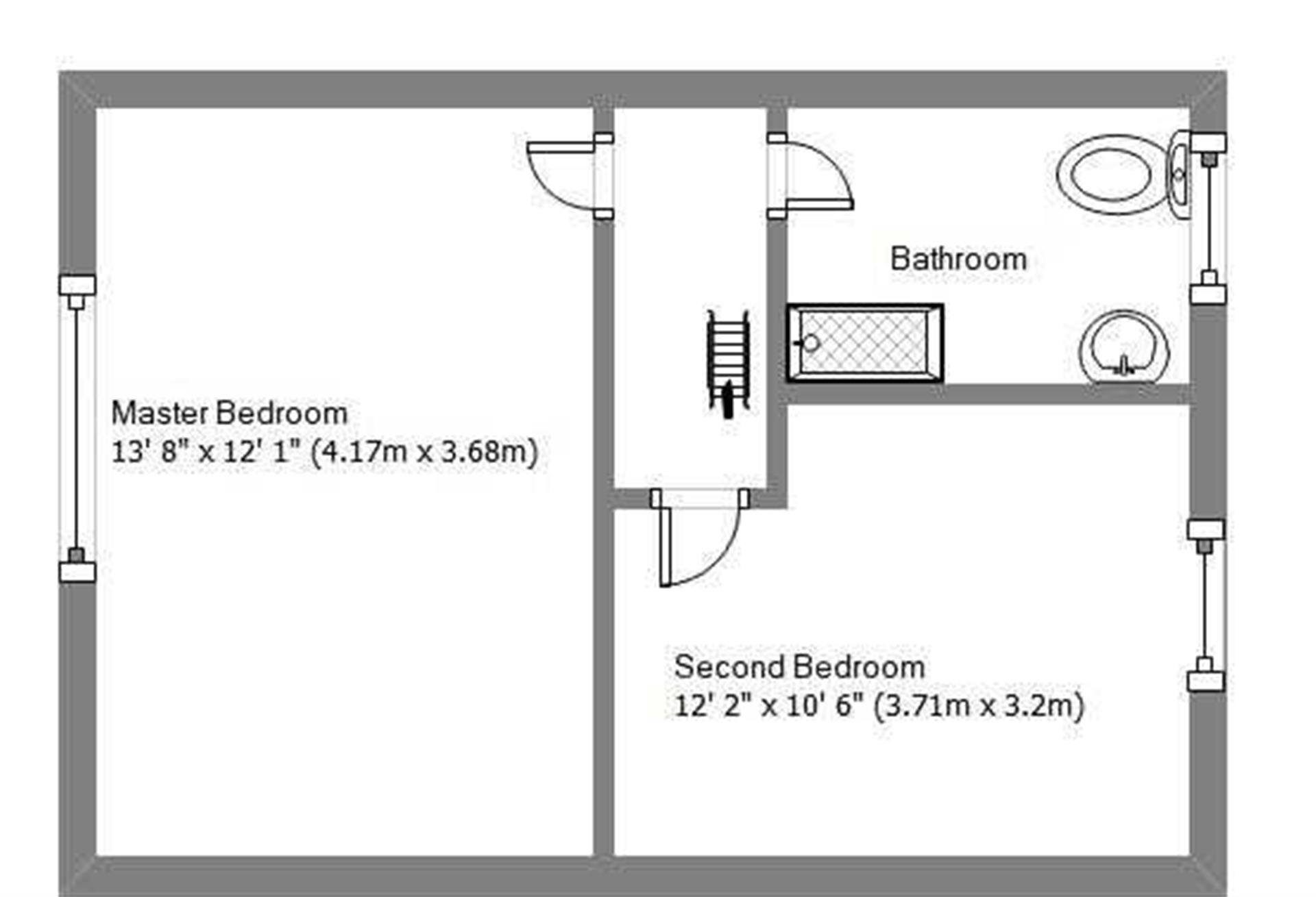 2 Bedroom Terraced House For Sale - First Floor Plan
