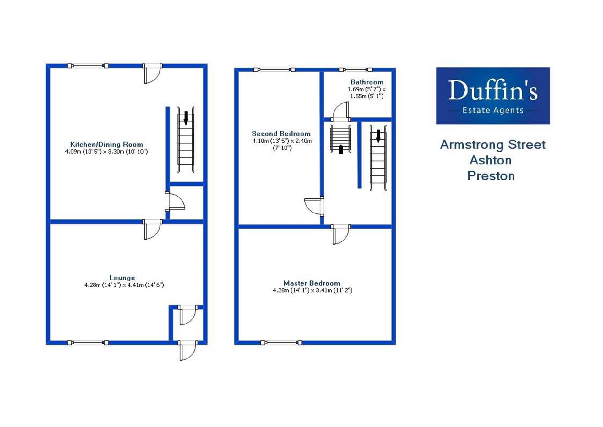 2 Bedroom End Terraced House For Sale - Floorplans