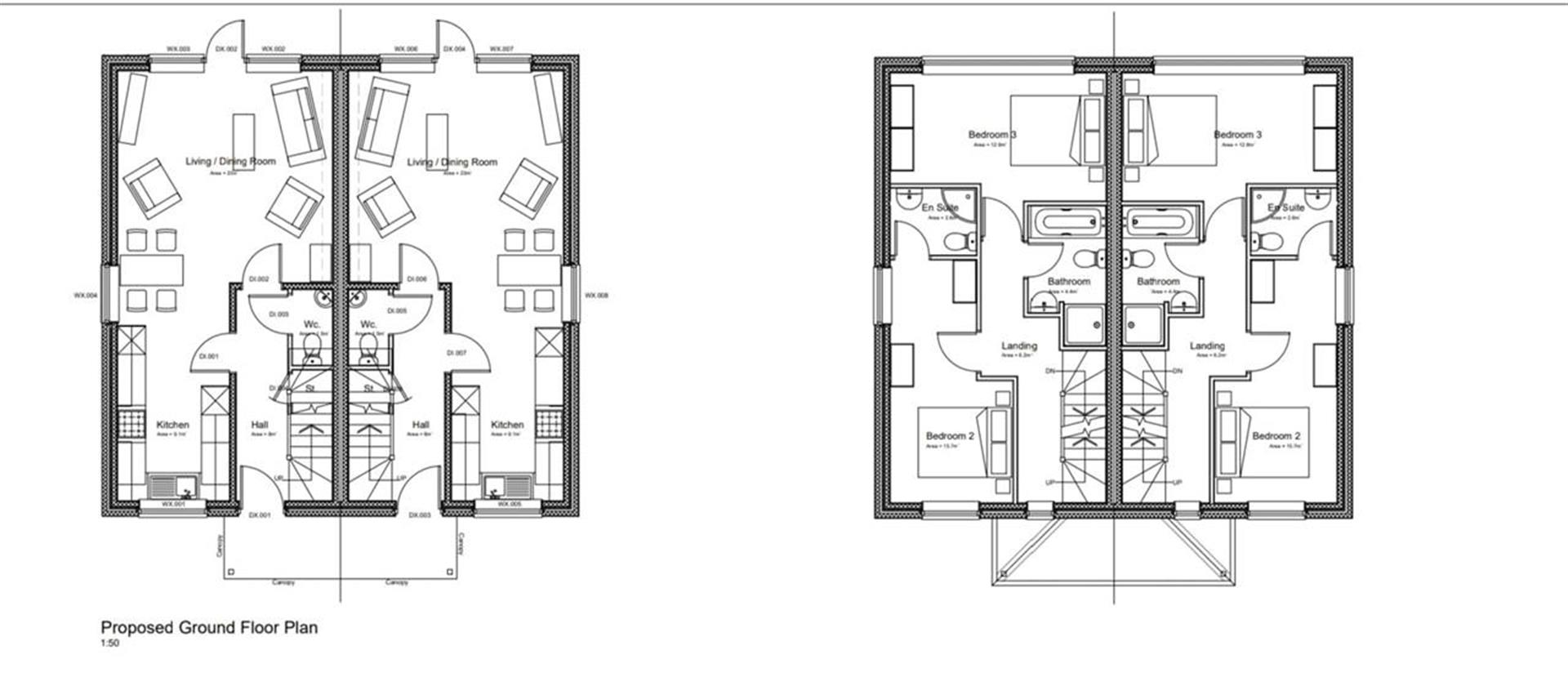 3 Bedroom Semi-detached House For Sale - Floor Plans